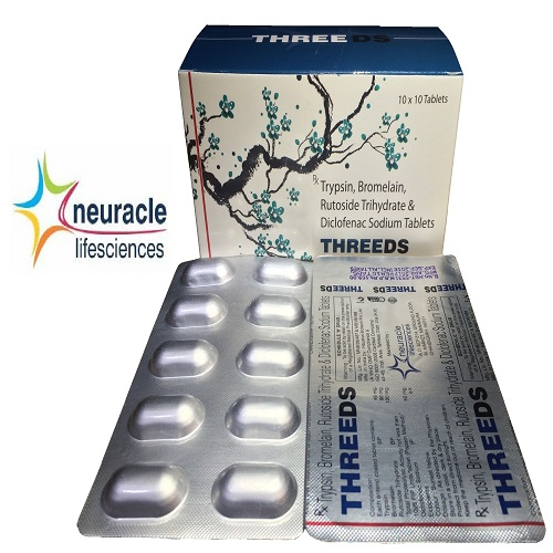 Trypsin 48 mg + Bromelain 90 mg +Rutoside Trihydrate 100 mg + Diclofenac Sodium 50 mg tab